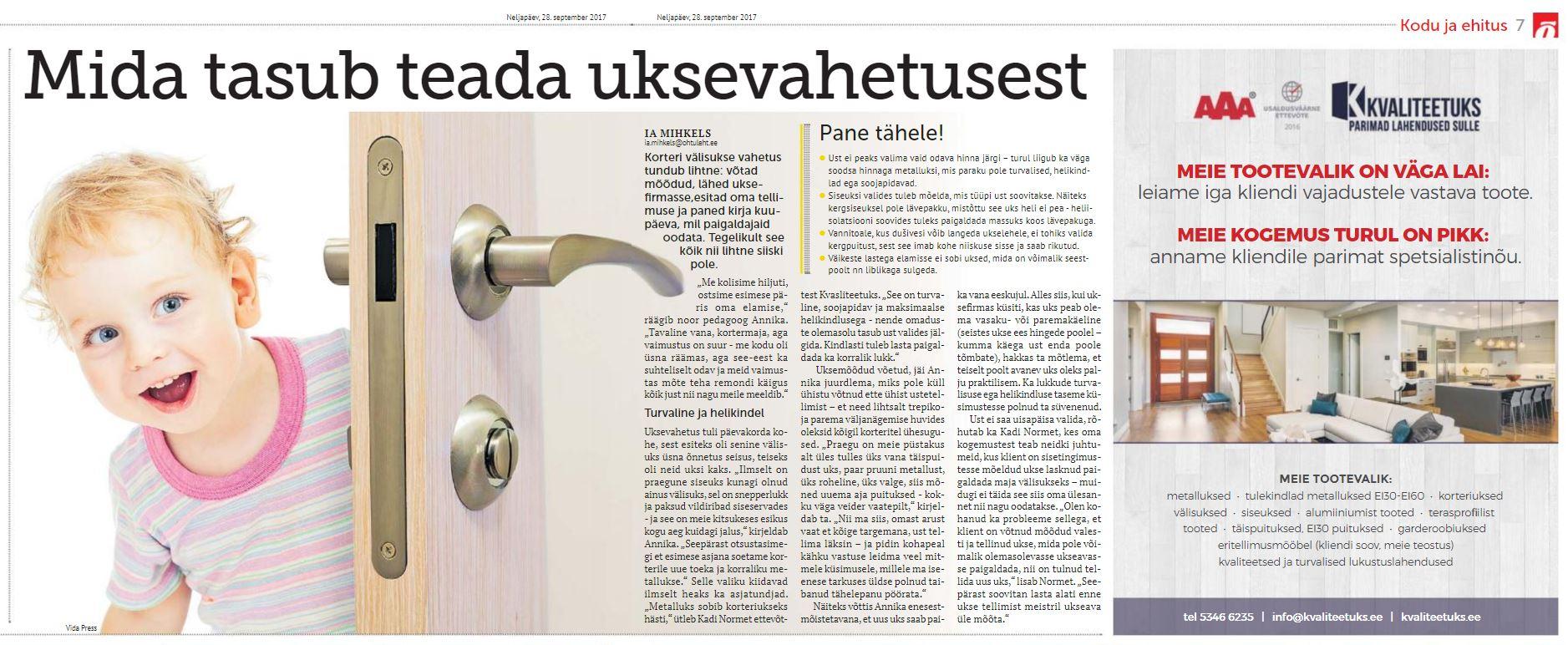 Artikkel - Mida tasub teada uksevahetusest.